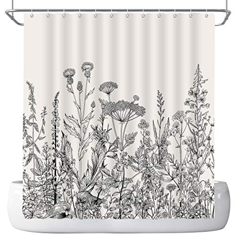 DePhoto Floral Shower Curtain for Bathroom Frame Herbal Wildflower Plant Vintage Engraving White and Black Washable Waterproof Polyester Fabric 72x72 inches with 12 Hooks