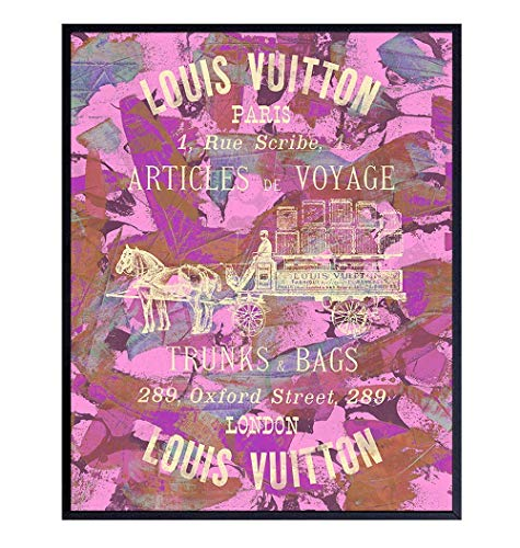 Ad for Louis Vuitton Wall Art - Glam Wall Decor - Designer Fashion Home Decoration for Bedroom, Living Room, Bathroom - Cool Unique Gift for Women, Fashionista, Couture Fan - Pink Picture Poster