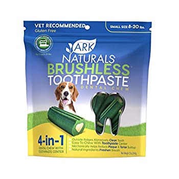 Ark Naturals Brushless Toothpaste Dog Dental Chews for Small Breeds Vet Recommended for Plaque Bacteria & Tartar Control 1 Count Packaging May Vary
