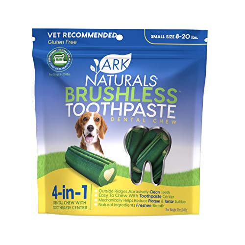 Ark Naturals Dog Brushless Toothpaste 4 in 1 with Toothpaste center, Dental Chews for Small Breeds, Vet Recommended for Plaque, Bacteria & Tartar Control, 8-20 Lbs, Single Pack, Packaging May Vary