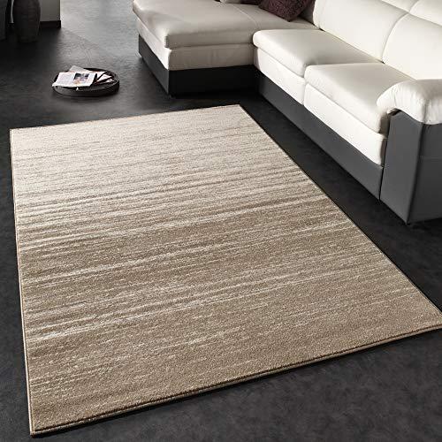 Paco Home Moderner Designer Teppich Kurzflor Flachflor Velours Farbverlauf In Creme Beige, Grösse:160x230 cm