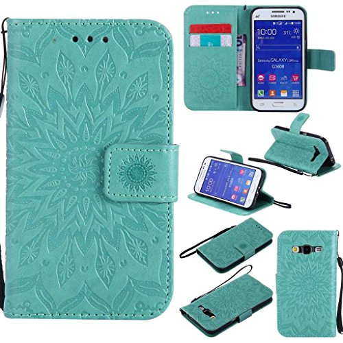 KKEIKO Cover Galaxy Core Prime, Magnetico Portafoglio Custodia in PU Pelle, Fiore del Sole Design Antiurto Cover per Samsung Galaxy Core Prime - Verde