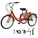 EOSAGA Adult Tricycle for Women 7 Speed Three Wheel Bikes 24 inch Adult Trikes with Basket for Shopping w/Full Assemble Tools (Red)