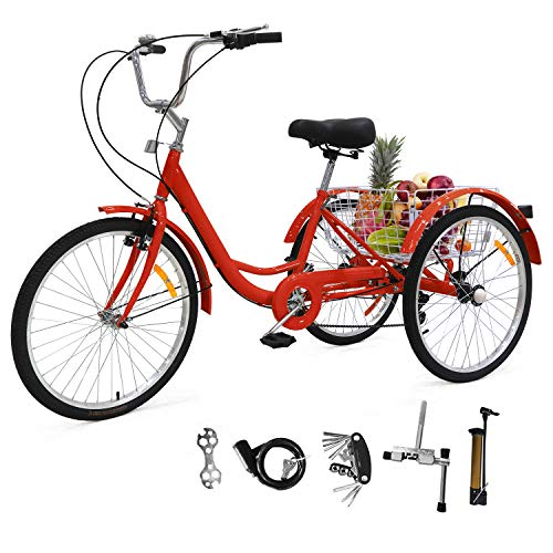 Adult Tricycles Three Wheel Trike Bike Cruiser 7 Speed, Adult Trikes 24 inch Wheels Low Step-Through with Cargo Basket/Full Assembly Tool for Women, Men, Seniors (Cool Red, 26'' Wheel)