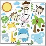 Wandkings Baby Safari Tiere Wandsticker Set