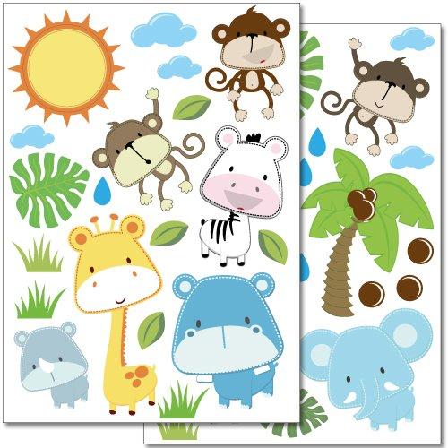 Wandkings Baby Safari Tiere Wandsticker Set, 40 Aufkleber, 2 DIN A4 Bögen, Gesamtfläche 60 x 20 cm