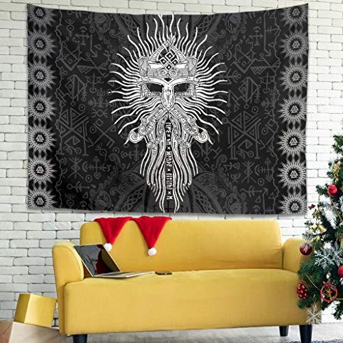 Magiböes Tapiz vikingo Odin guerrero Barba Fathurk runas Impresión mística Blanco 2 200 x 150 cm