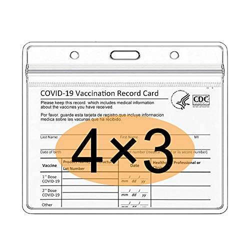 3 Pack ID Card Badge Holder, Vertical Clear PVC Card Holder Clear Vinyl Plastic Sleeve with Waterproof Type Resealable Zip