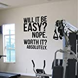 MRQXDP Absolutamente Fitness Motivation Wall Quotes Poster Decals Gran gimnasio Kettlebell Boxing Decor Letters Wall Sticker negro 56x80cm murales wallpaper pared