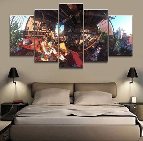 CGUKRTV 5 Partes Cuadro En Lienzo Grande Cuadros Hogar para Dormitorios Modernos Impresión Habitación Decoración Adolescente Mural Pared Kimono Akagi Azur Lane