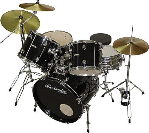 Schlagzeug Set 9-teilig + Ständer, Becken, Hocker, schwarz