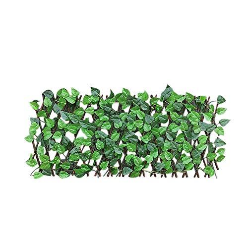 tJexePYK Valla Ajustable retráctil simulación Verde de la Hoja Artificial Vine Madera Jardín decoración de la Pared de privacidad Barrera