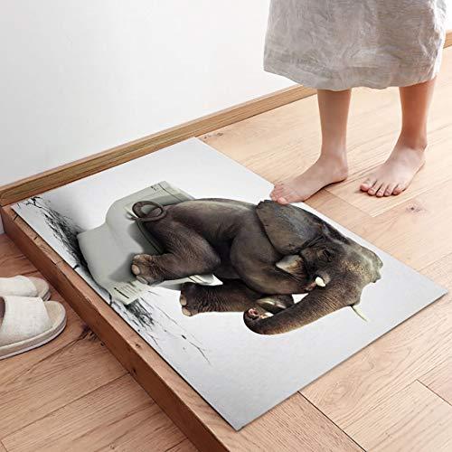 Comforance Funny Doormat, Low-Profile with Rubber Backing Rugs, Door Mats with Felt Fibers for Indoor Kitchen Bedroom Use 18x30 inch Elephant Thinker on Toilet Broken Floor