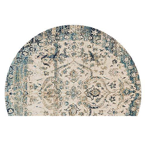 WJXBoos Persischer Stil Traditionell Fußmatte,große Halbkreis Orientalische Blumen Retro Europäisch Schlafzimmer Eingang Bett Haustür Willkommen Teppich B 100 * 150cm(39 * 59inch)