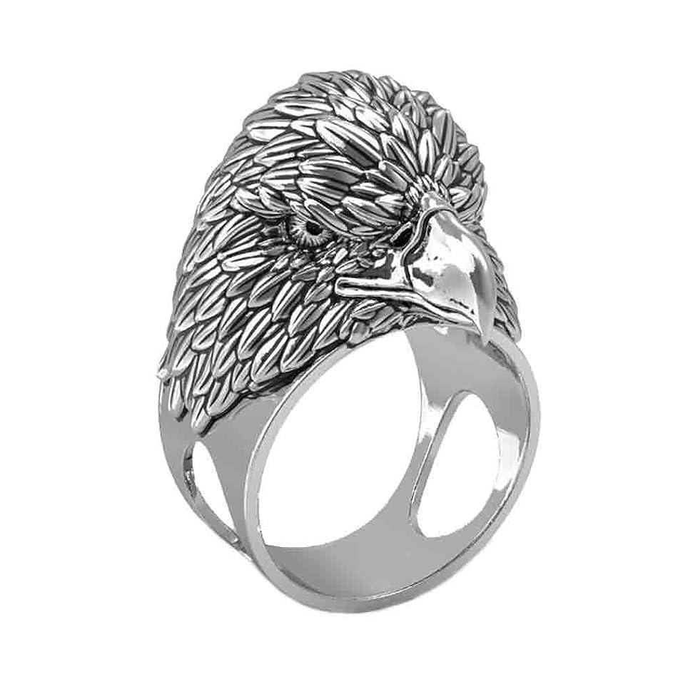 単語犯人貧しいY-YING 「力」と「名誉」の象徴 イーグルリング 特大イーグルヘッド 指輪 ステンレス 素材 リング 男性用指輪 16号