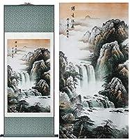 風景画中国絵画絵画ホームオフィス装飾中国絵画山と川-140cmx45cm_light_green_package