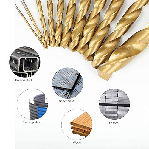 COMOWARE 230 Pieces Drill Bit Set- Titanium Wood Drill Bits, High Speed Steel Drill Bit Kit for Wood, Metal, Plastic, Steel, Copper, Aluminum Alloy with Storage Case, 3/64