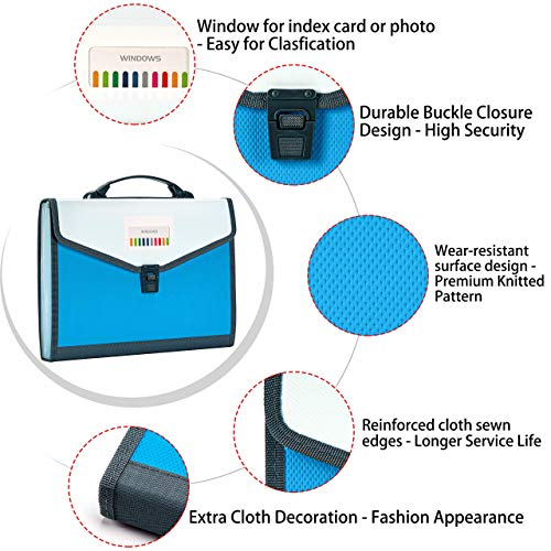 FANWU 13 Pockets Expanding File Folder Accordion File with Handle & Buckle - Letter A4 Paper Size - Expandable Plastic File Folder Monthly Portable Document Organizer for Home School Office (Blue) Photo #9