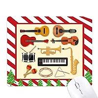 エレクトリック・ピアノ・トロンボーンのギター音楽 ゴムクリスマスキャンディマウスパッド