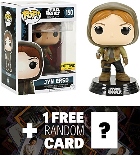 Star Wars Jyn Erso (Hot Topic Exclusive): Funko POP! x Vinyl Bobble-Head Figure w/ Stand + 1 Free Official Trading Card Bundle (104500)