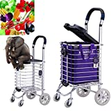 YOLE Premium 4 Wheel Shopping Trolley with Adjustable Handle Stainless steel wear-resistant material Easy to use Can be folded Suitable for parents, shopping, heavy goods,E