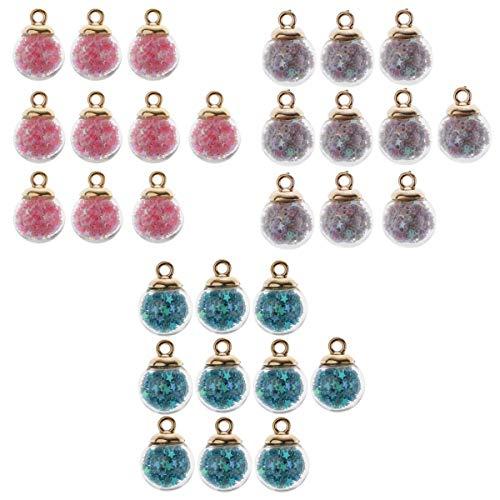 joyMerit 30 Piezas 16 Mm Mezcladas Pequeñas Estrellas Brillantes Cristal Bola de Cristal Encantos Colgante Ajuste Pulsera Collar Pendiente Accesorios de Joyerí