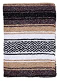 El Paso Designs Mexican Yoga Blanket | Colorful Falsa Serape | Park Blanket, Yoga Towel, Picnic, Beach Blanket, Patio Blanket, Soft Woven Saddle Blanket, Boho Home Décor (Beige)