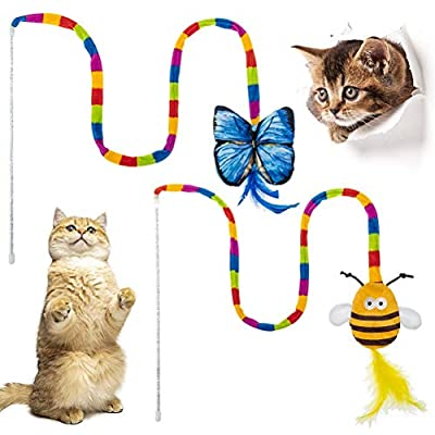 BINGPET Interactive Cat Feather Toys - Cat Wand Toys, 2 Pieces Cat Teaser Toys with Bee and Butterfly Model, Crinkle Paper Inside, Perfect for Indoor Cat, Kitties