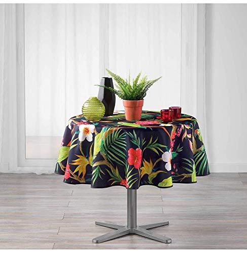 Mantel Redondo (0) 180 cm, poliéster, Estampado Tropico, Color Morado