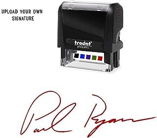 Custom Upload Signature Stamp - Customizable Signature Stamp - Personalized Self-Inking Signature Stamps. Red Ink