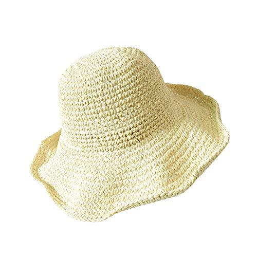 Hengjierun Sombrero De Paja para La Playa para Mujer, Sombrero De Viaje para Verano, UV, De ala Ancha, para El Sol, Plegable, Flexible, para El Sol, Plegable, para La Playa, para Mujer