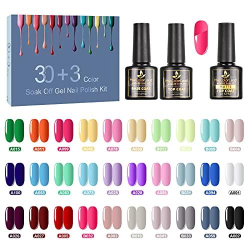 Smalto Semipermanente -33 Kit Smalto Semipermanente Nail Art Smalto per unghie UV LED Gel Smalto per unghie 30 colori Popolare con base e top coat, Top coat opaco, 8ml