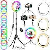 12.6'' Selfie Ring Light with Tripod Stand & Phone Holder Tall 74'', LED Ring Lights with 20 RGB Mode 13 Brightness, Dimmable Circle Light with Remote for Streaming Makeup YouTube Video Tiktok
