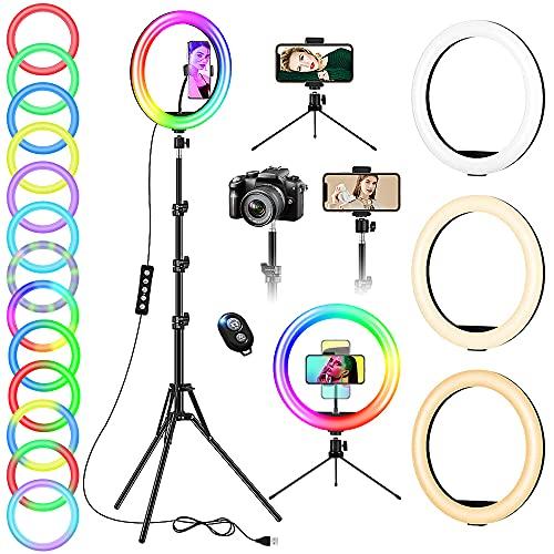 Anneau Lumineux avec Trépied pour Camera & Smartphone, LED Ring Light 12 Pouces Professionnel pour TIK Tok Vidéos, Lampe Selfie Cercle Portable Réglable 20 Modes RGB 13 Niveaux de Luminosité