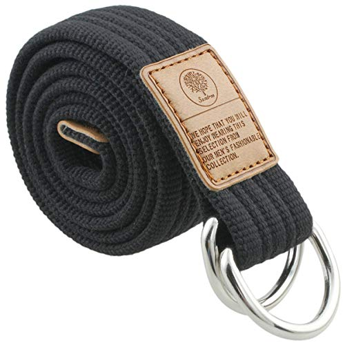 KYEYGWO Unisex Canvas Belts with Double D Rings Buckle, Adjustable Braided Webbing Belt for Men Women Black