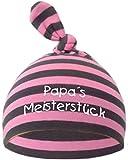 KLEINER FRATZ Baby Mütze Bedruckt mit Papas MEISTERSTÜCK (Farbe rosa/grau)