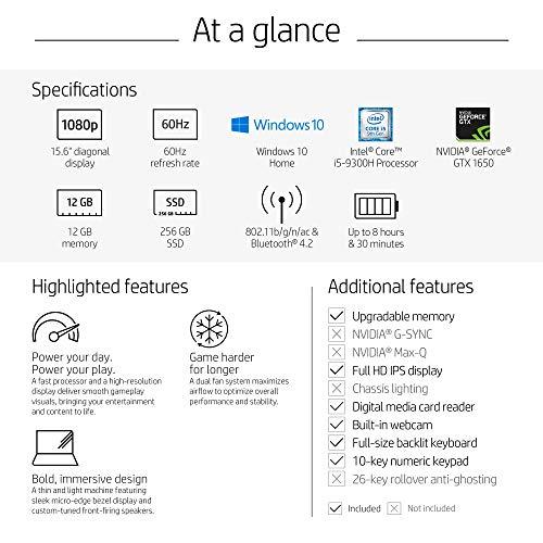 HP Pavilion Gaming 15-Inch Laptop, Intel Core i5-9300H, NVIDIA GeForce GTX 1650, 12GB RAM, 256GB SSD, Windows 10 (15-dk0041nr, Black)