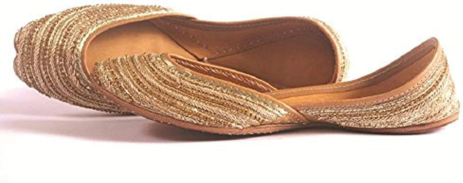 Indian Marketplace Womens Awesome Beige Handmade Pure Leather Jutti