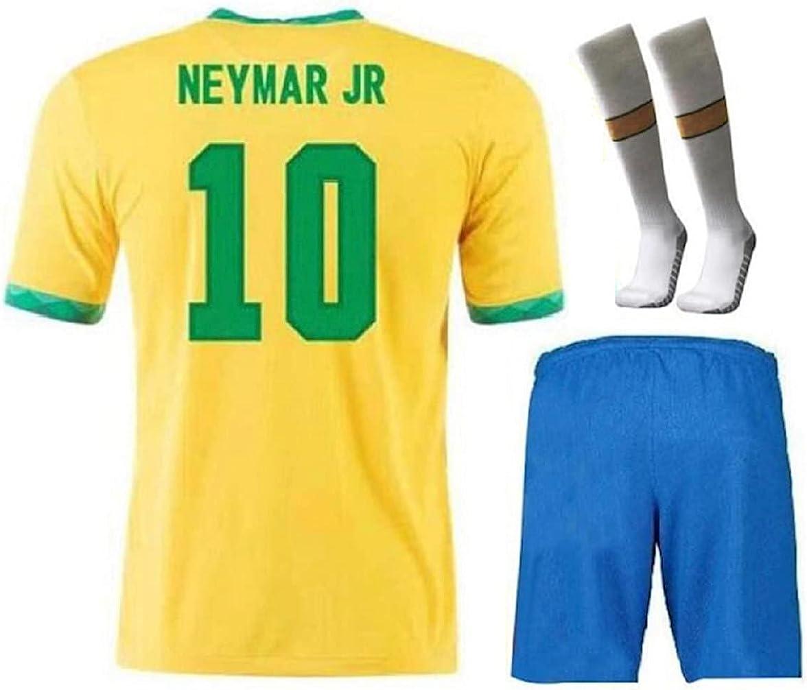 Brazil Neymar Home Yellow 2021 Soccer Kids Jersey + Shorts + Socks Set Kit for Youth Size