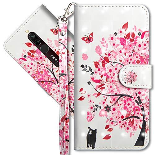 MRSTER Funda para Xiaomi Redmi 8A, 3D Brillos Carcasa Libro Flip Case Antigolpes Cartera PU Cuero Funda con Soporte para Xiaomi Redmi 8A. YX 3D Tree Cat