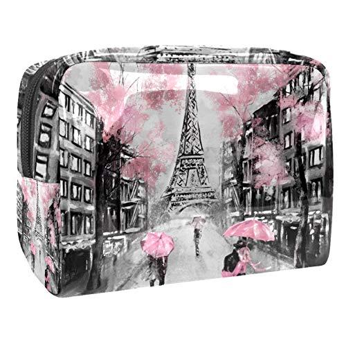 Bolsa de Maquillaje Amante de la Torre Eiffel de París Bolsa de Almacenamiento de Maquillaje Bolsa de Viaje Maquillaje Cosmético Bolsa Multifuncional para Viajes y Viajes de Negocios 18.5x7.5x13cm