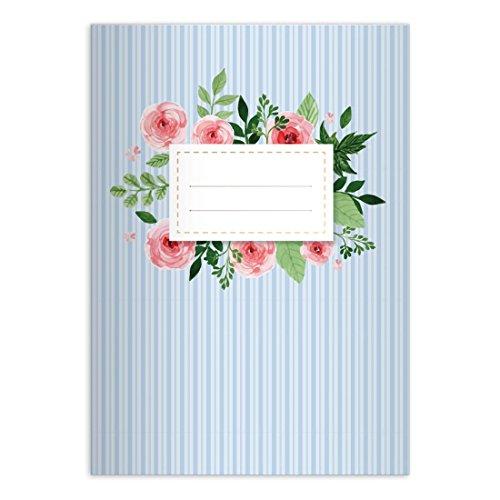 Kartenkaufrausch 1 Romantisches Vintage DIN A4 Schulheft, Schreibhefte mit Rosen auf Streifen in hellblau Lineatur 27 (liniertes Heft)