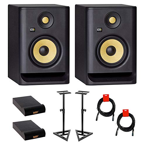 """KRK ROKIT 5 G4 5"""" 2-Way Studio Monitor (Pair) Bundle with Studio Monitor Stands (Pair), 2x Small Pad & 2x XLR Cable"""