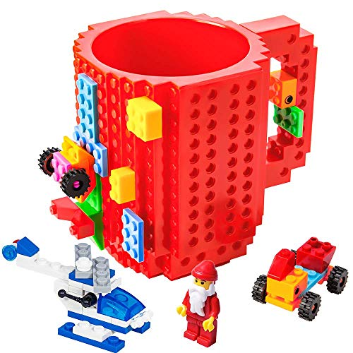 BOMENNE Build-on Brick Mug,Novelty Creative DIY building Blocks Puzzle Cups with 3 packs of Blocks,Unique Kids Party Fun mug For ALL Festival and Christmas gifts,Compatible with Lego,Red