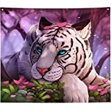 """Tiger Tapestry Wall Hanging Trippy Tapestry Hippie Wall Tapestry for Bedroom Aesthetic Living Room Home Decoration Wall Decor Art White Tiger Sleeping Forest Beautiful Oil Painting Tapestries 60""""x50"""""""