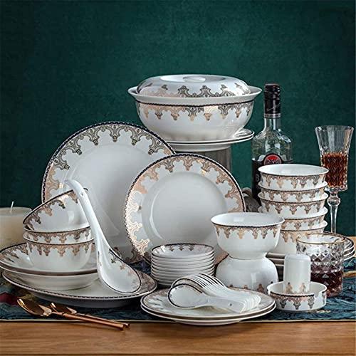 Juego de Platos, Juego de vajillas de cerámica con 46 Piezas, tazón/Plato/Maceta/Cuchara   Conjuntos de cenas, Conjunto de combinación de Porcelana de patrón Oro Europeo , Euro Ceramica