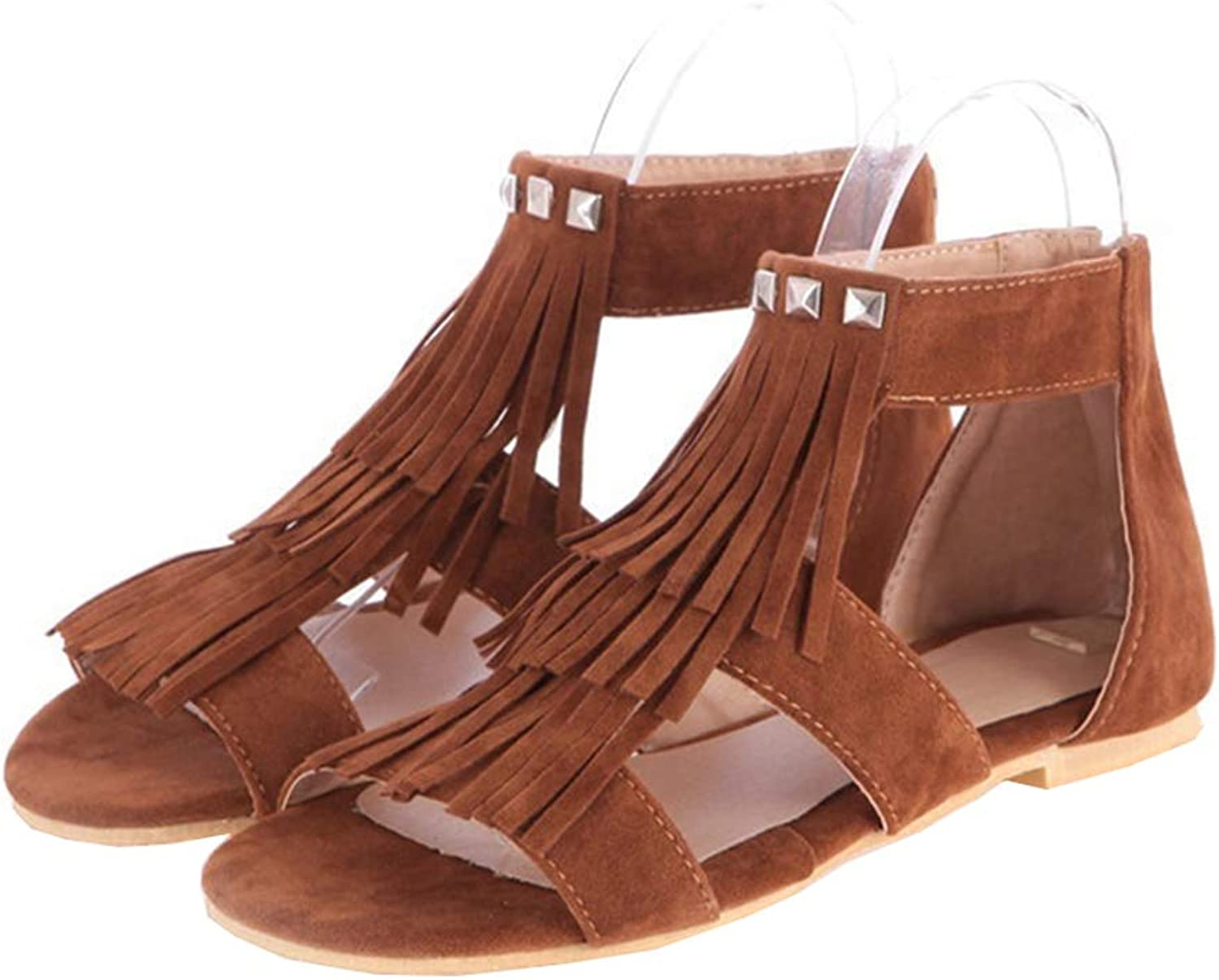 HEDDK Summer Women Roman Casual Sandals Rivets Flat Fringed Sandals Ladies Zipper Peep Toe Sandals Big Size 34-42