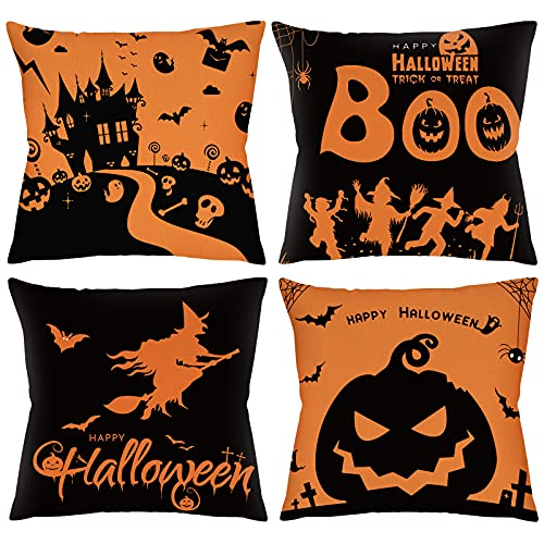 TGOOD Halloween Decorations Pillow Covers 18×18 Set of 4...