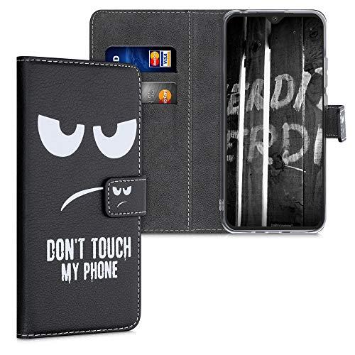 kwmobile Wallet Hülle kompatibel mit Xiaomi Redmi 9C - Hülle Kunstleder mit Kartenfächern Stand Don't Touch My Phone Weiß Schwarz