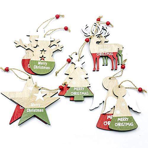 10 Pezzi Ornamenti Natalizi in Legno da Appendere,Pendenti Legno Natalizi Addobbi Albero,Ornamenti di Albero di Natale Pendenti in Legno Handmade Natale Babbo Natale Albero di Natale Sled Snowman